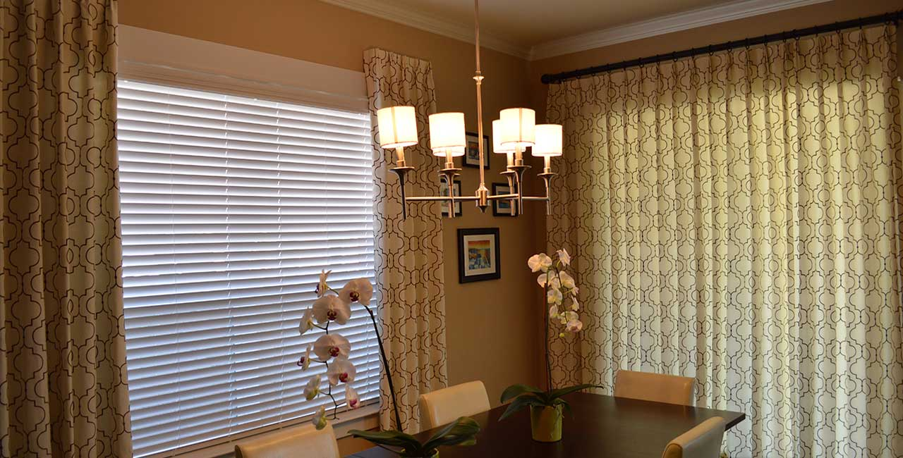Custom Draperies and Shades in Dining Room