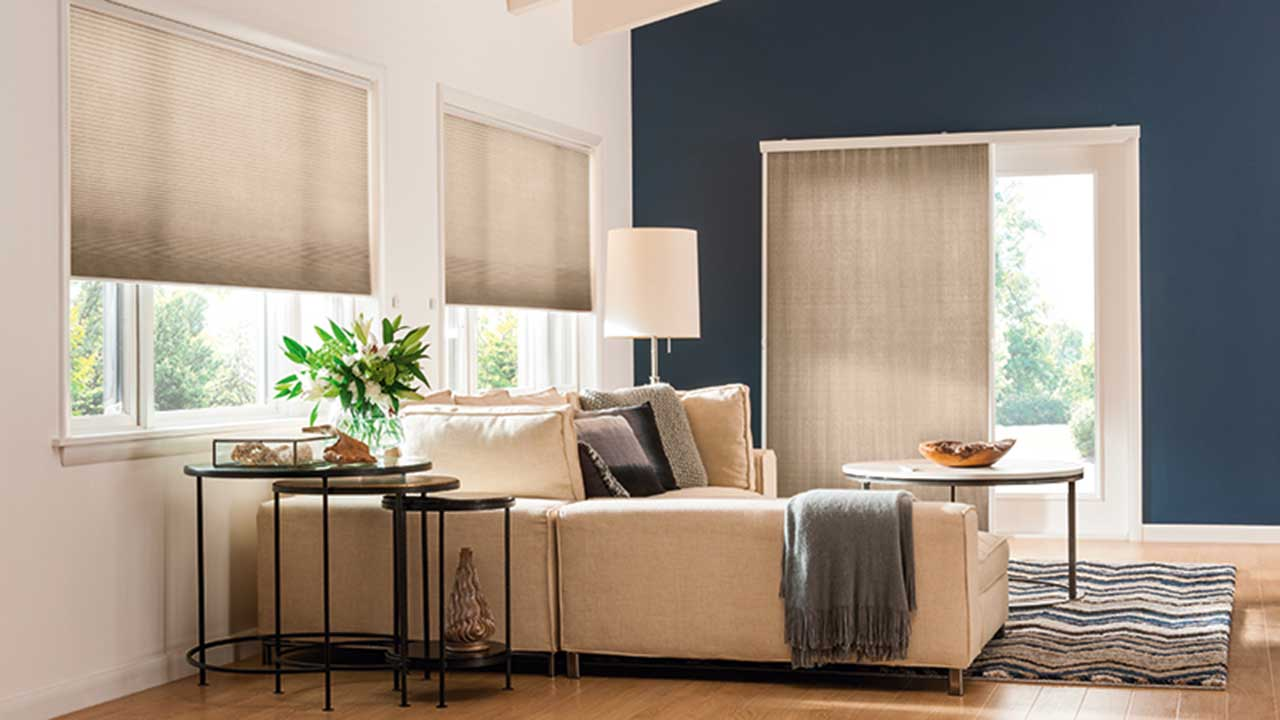 Cellular Shades in Living Room Setting