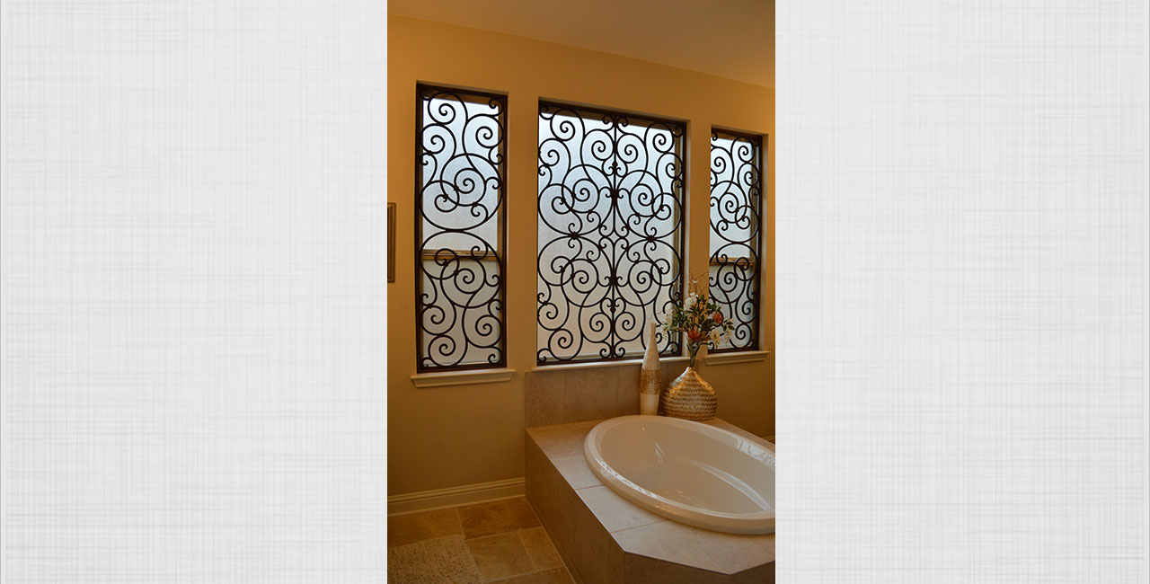 Faux Wrought Iron Bathroom Windows