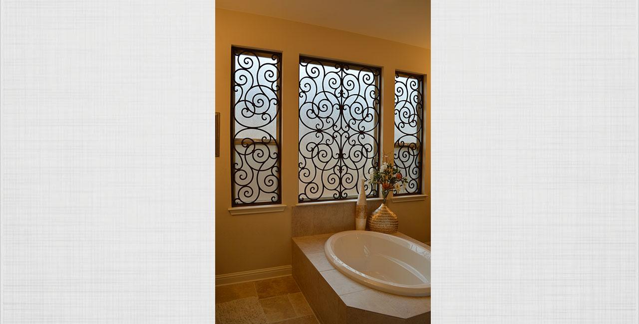 Faux Wrought Iron Bathroom Windows