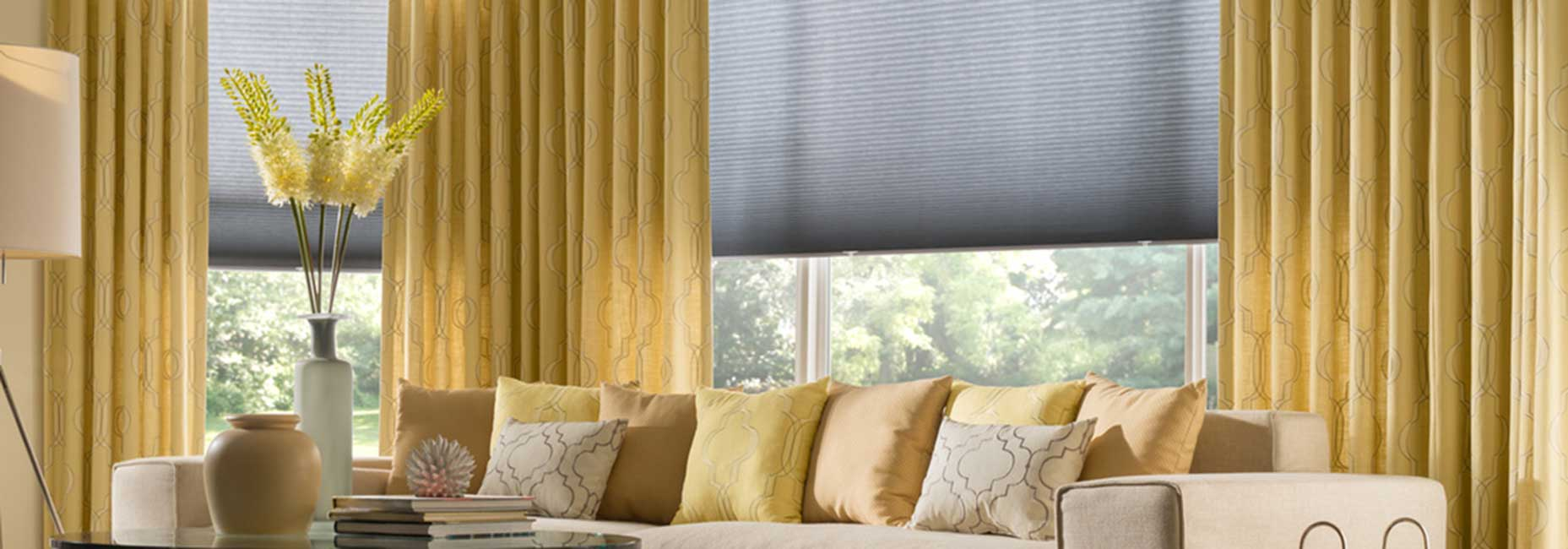Elegant Living Room Draperies and Shades