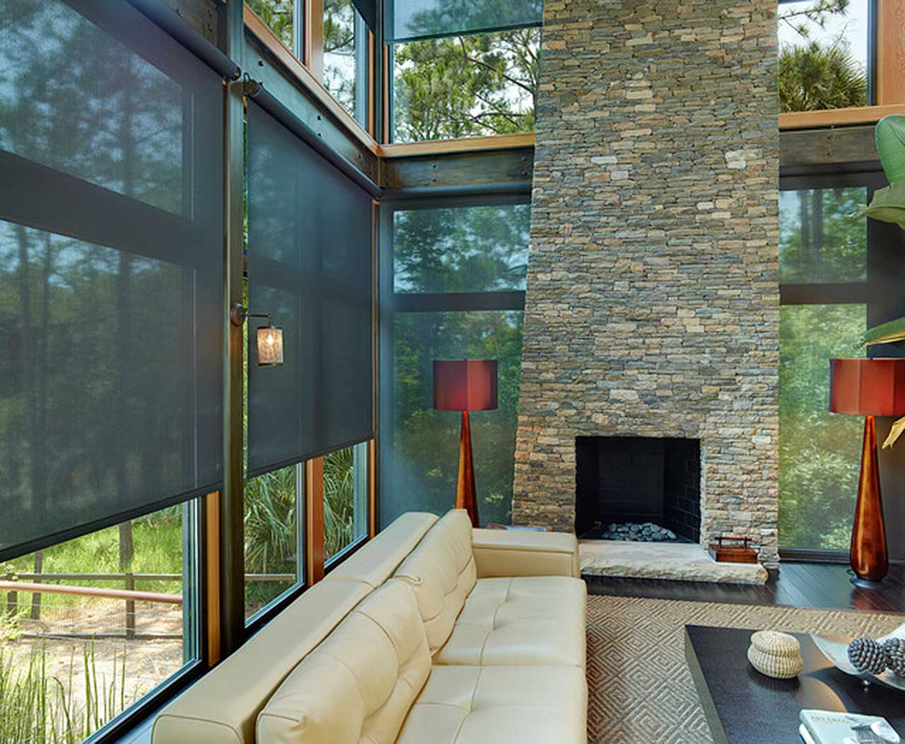 Roller Shades with Floor to Ceiling Windows and Chimney