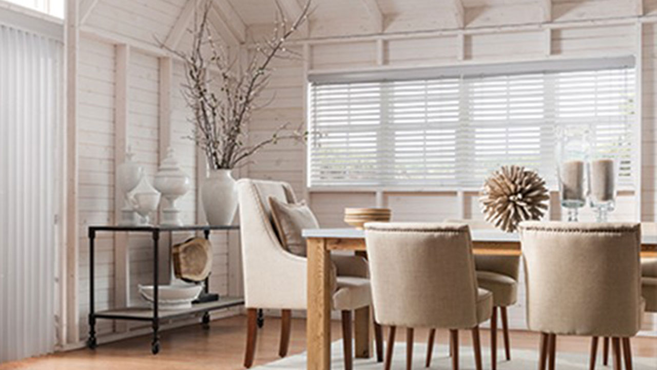 Wood Blinds Add to Decor in Dining Room.