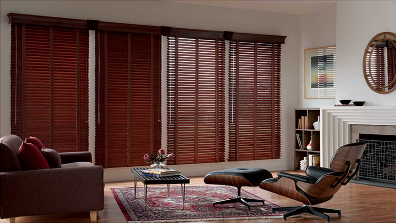 Wooden Blinds Add a Rich Decorative Feature to Living Room.